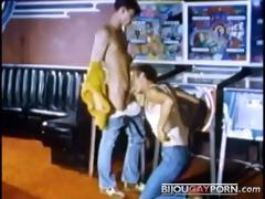 pool room three-way from vintage homo porn truck