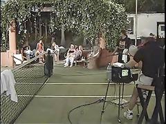 tennis girls playing outside
