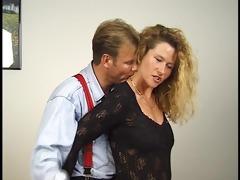 blonde gives spouse pedicure