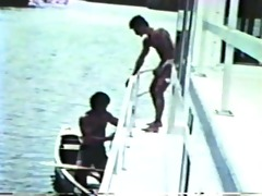 vintage footage of lads fucking on a boat - blue
