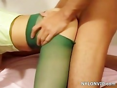 green hose fuck and three-some footjob