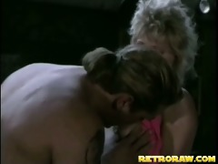 retro blonde gets fucked in the kitchen