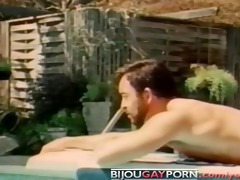 classic homo macho poolside sex from bullet