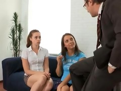 tricky old teacher screwed teen students with