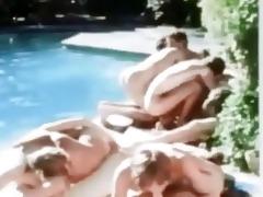 vintage poolside twink homo orgy