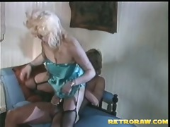 large golden-haired rides the cock