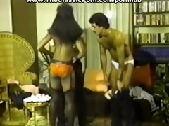 retro darksome girl betwixt white dicks