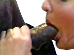 shaved 80s slut takes black snake!